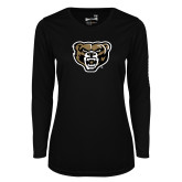 Ladies Syntrel Performance Black Longsleeve Shirt-Grizzly Head