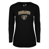 Ladies Syntrel Performance Black Longsleeve Shirt-Oakland University with Grizzly Head