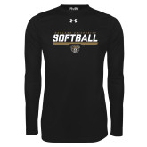 Under Armour Black Long Sleeve Tech Tee-Softball Stencil