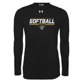 Under Armour Black Long Sleeve Tech Tee-Softball Stencil