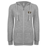 ENZA Ladies Grey/Black Marled Full Zip Hoodie-Grizzly Head
