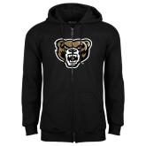 Black Fleece Full Zip Hoodie-Grizzly Head