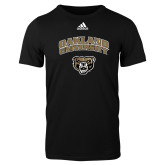 Adidas Black Logo T Shirt-Oakland University with Grizzly Head