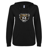 ENZA Ladies Black V Notch Raw Edge Fleece Hoodie-Grizzly Head