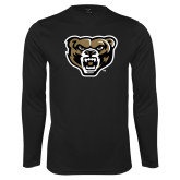 Performance Black Longsleeve Shirt-Grizzly Head