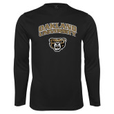 Performance Black Longsleeve Shirt-Oakland University with Grizzly Head