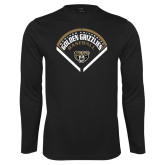 Performance Black Longsleeve Shirt-Golden Grizzlies Baseball Diamond