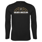Performance Black Longsleeve Shirt-Golden Grizzlies Basketball Half Ball