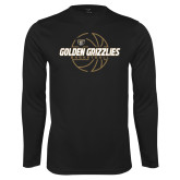 Performance Black Longsleeve Shirt-Golden Grizzlies Basketball Lines