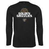 Performance Black Longsleeve Shirt-Golden Grizzlies Volleyball Stacked