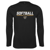 Performance Black Longsleeve Shirt-Softball Stencil