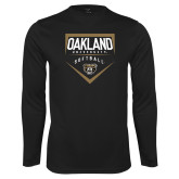 Performance Black Longsleeve Shirt-Oakland University Softball Plate