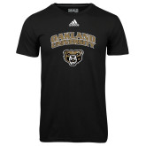 Adidas Climalite Black Ultimate Performance Tee-Oakland University with Grizzly Head