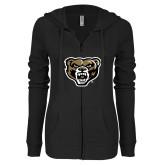 ENZA Ladies Black Light Weight Fleece Full Zip Hoodie-Grizzly Head