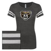 ENZA Ladies Black/White Vintage Triblend Football Tee-Grizzly Head