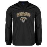 V Neck Black Raglan Windshirt-Oakland University with Grizzly Head