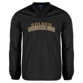 V Neck Black Raglan Windshirt-Arched Golden Grizzlies