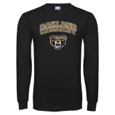 Black Long Sleeve T Shirt-Oakland University with Grizzly Head