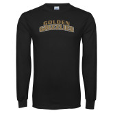 Black Long Sleeve T Shirt-Arched Golden Grizzlies