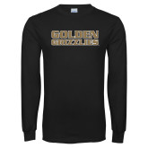 Black Long Sleeve T Shirt-Golden Grizzlies Stacked