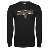 Black Long Sleeve T Shirt-Slanted Golden Grizzlies Stencil