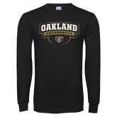 Black Long Sleeve T Shirt-Arched Oakland University Stacked