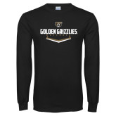 Black Long Sleeve T Shirt-Golden Grizzlies Baseball Plate