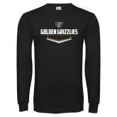 Black Long Sleeve T Shirt-Golden Grizzlies Baseball Plate