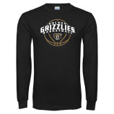 Black Long Sleeve T Shirt-Golden Grizzlies Basketball Arched