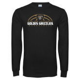 Black Long Sleeve T Shirt-Golden Grizzlies Basketball Half Ball