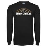 Black Long Sleeve T Shirt-Golden Grizzlies Basketball Half Ball