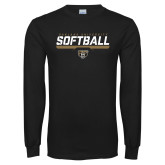 Black Long Sleeve T Shirt-Softball Stencil