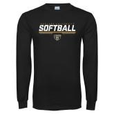 Black Long Sleeve T Shirt-Softball Stencil