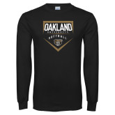 Black Long Sleeve T Shirt-Oakland University Softball Plate