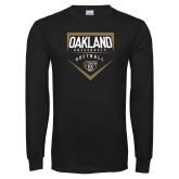 Black Long Sleeve T Shirt-Oakland University Softball Plate