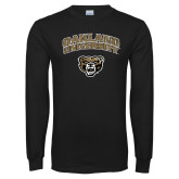 Black Long Sleeve T Shirt-Oakland University with Grizzly Head Distressed