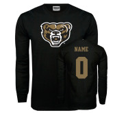 Black Long Sleeve T Shirt-Grizzly Head, Custom Tee w/ Name and #