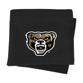 Black Sweatshirt Blanket-Arched Oakland w/ Grizzly Head