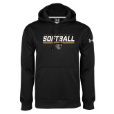 Under Armour Black Performance Sweats Team Hoodie-Softball Stencil