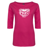 Ladies Dark Fuchsia Perfect Weight 3/4 Sleeve Tee-Grizzly Head