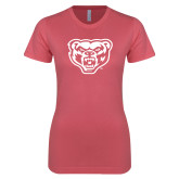 Next Level Ladies SoftStyle Junior Fitted Pink Tee-Grizzly Head