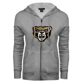 ENZA Ladies Grey Fleece Full Zip Hoodie-Grizzly Head