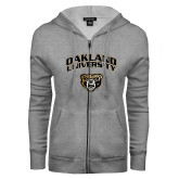 ENZA Ladies Grey Fleece Full Zip Hoodie-Oakland University with Grizzly Head