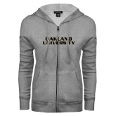 ENZA Ladies Grey Fleece Full Zip Hoodie-Oakland University
