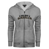 ENZA Ladies Grey Fleece Full Zip Hoodie-Arched Golden Grizzlies