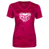 Ladies Pink Raspberry Camohex Performance Tee-Grizzly Head