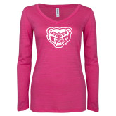 ENZA Ladies Hot Pink Long Sleeve V Neck Tee-Grizzly Head