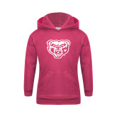 Youth Raspberry Fleece Hoodie-Grizzly Head