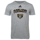 Adidas Sport Grey Logo T Shirt-Oakland University with Grizzly Head