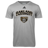 Adidas Climalite Sport Grey Ultimate Performance Tee-Oakland University with Grizzly Head